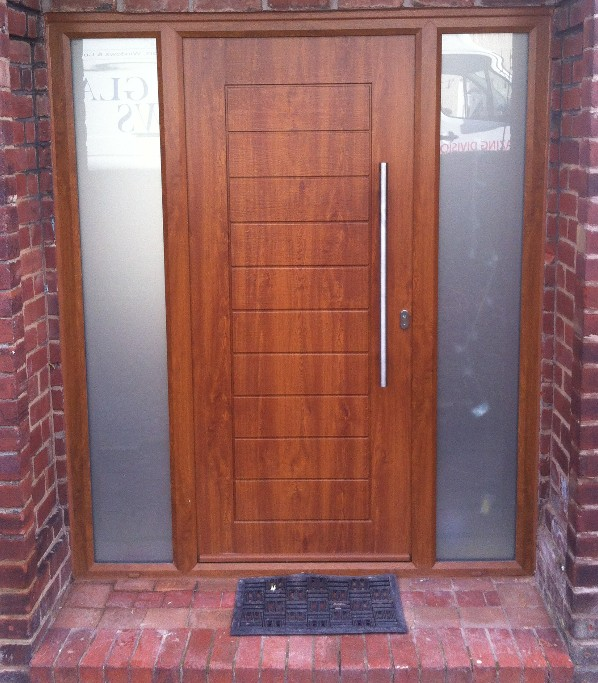 Palermo Style Composite Door in Light Oak