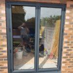 2 Pane Aluminium Bi-fold Door in textured anthracite grey
