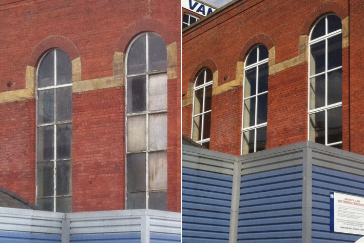 Before & After Arched windows to commercial property